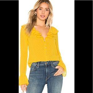 Majorelle Yellow Button-Up Blouse, Ruffle -NWT